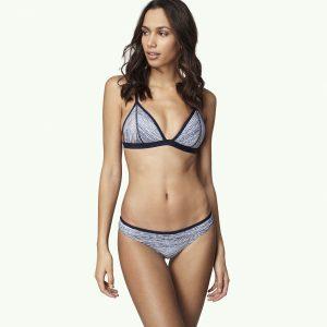 Print Padded Triangle Bikini Blue Bikinis