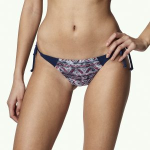 Print Tie Side Bikini Bottom Blue Bikinis