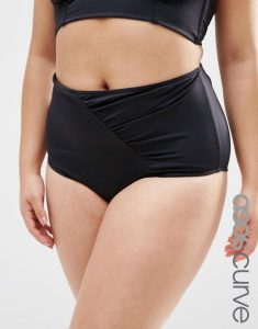 ASOS CURVE  Highwaist Bikini Bottom with Wrapped Front and Support - Black