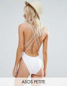 ASOS PETITE Cross Back High Leg Swimsuit - White