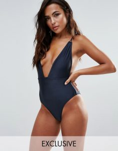 B-F Cup Navy Shimmer Plunge Swimsuit - Green