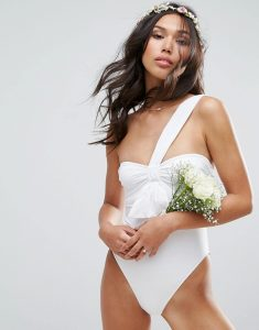 BRIDAL Body Bow Swimsuit - White