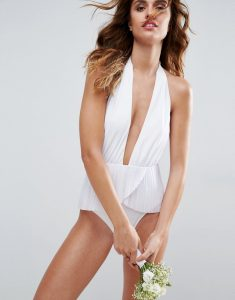 BRIDAL Pleated Frill Plunge Skirted Swimsuit - White