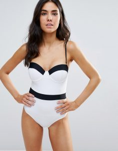 Bandeau Swimsuit with Contrast Trip - White