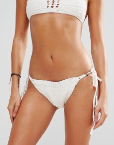 Boho Hand Crochet Bikini Bottom - Cream