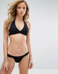 Bound By Bond-Eye Crinkle Halter Bikini Set - Black