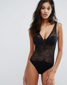 Crochet Rope Tie Plunge Swimsuit - Black