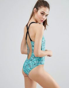 Cross Back Plunge Swimsuit - Multi
