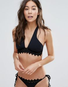Cross Over Lace Frill Bikini Top - Black