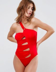 Cut Out Asymmetric Ring Swimsuit - Red