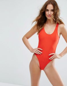 Cut Out Red Swimsuit - Red