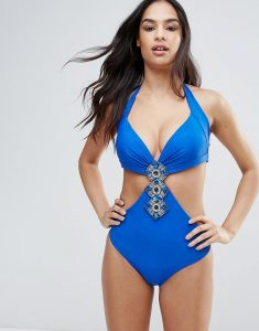 Cut Out Swimsuit With Embellishment - Blue