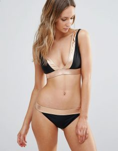 Deep V Bikini Set with Rose Gold Trim - Black