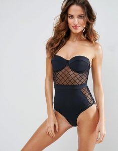 Diamond Mesh Cupped Swimsuit - Black
