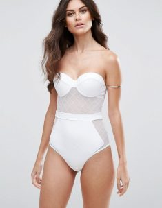 Diamond Mesh Cupped Swimsuit - White