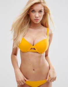 Exclusive Cut Out Plunge Bikini Top DD-G - Yellow