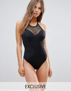 Exclusive Fishnet High Neck Swimsuit DD-G - Black