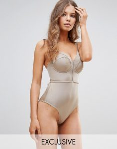 Exclusive Lattice Plunge Swimsuit DD-G - Brown