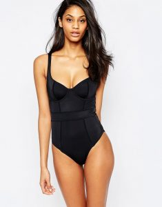 Exclusive Underwired Panelled Swimsuit DD-G - Black