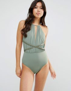 Faux Leather Trim Plunge Swimsuit - Green