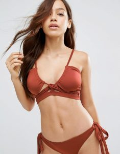 Gathered Lace Up Bikini Top - Brown