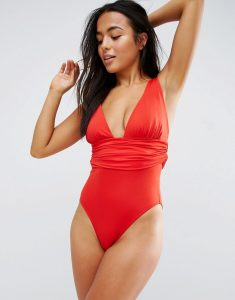 Gathered Waist Band Swimsuit DD-G - Red
