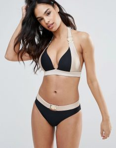 Glam Contrast Gold Bikini Set - Black