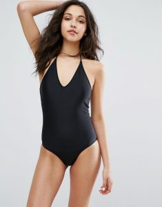 halterneck swimsuit - Black