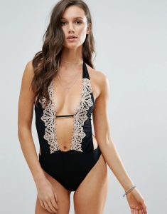 Lace Embroidery Swimsuit - Black