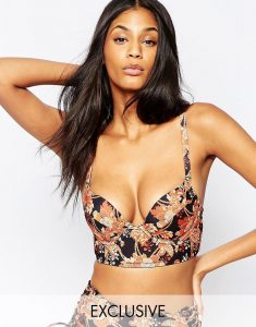 Lace Up Plunge Bikini Top B-G - Multi