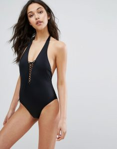 Lace Up Swimsuit - Black