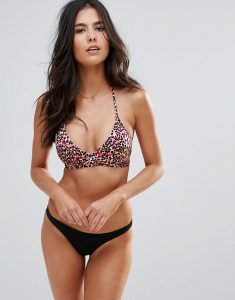 Leopard Print Cut Out Wrap Bikini Set - Pink