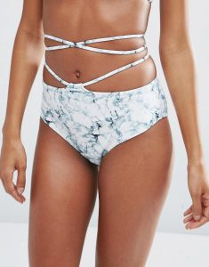 Marble Print Tie Cut Out High Waist Bikini Bottom - Multi