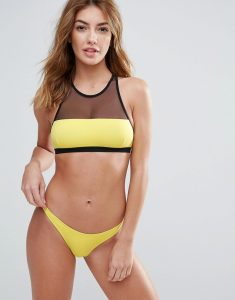 Mesh High Neck Bikini Set - Yellow