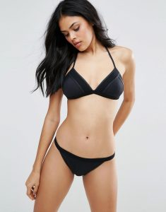 Mesh Trim Triangle Bikini Set - Black