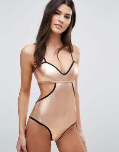 Metallic Cut Away Swimsuit - Copper