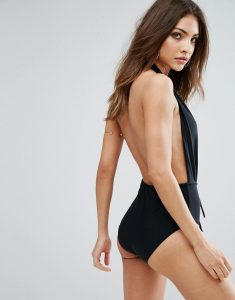 Missgudied Deep Plunge Backless Swimsuit - Black