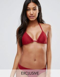 Mix And Match Red Triangle Bikini Top - Red