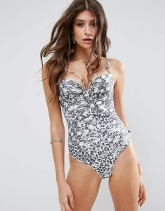 Mono Animal Moulded Push Up Swimsuit - Multi