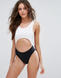 Monochrome Cut Out Swimsuit - Multi
