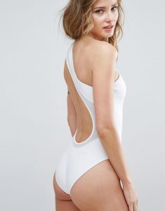 One Shoulder Scuba Swimsuit with Mesh Insert - White