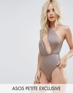PETITE Asymmetric One Shoulder Glam Swimsuit - Brown