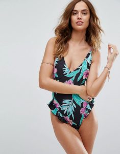 Paradise Floral Printed Frill Plunge Swimsuit - Multi