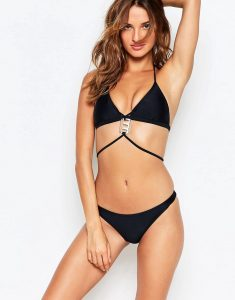 Pendant Detail Strappy Bikini Set - Black