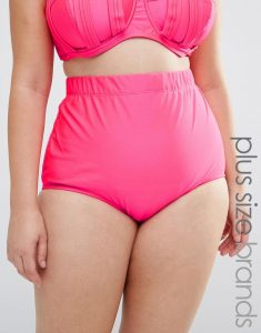 Pink High Waist Bikini Bottom - Orange