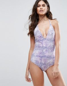 Plunge Neck Mermaid Swimsuit - Pink