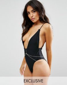 Plunge Swimsuit With Removable Chain B-F Cup - Black