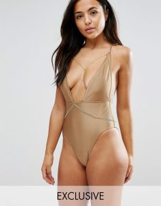 Plunge Swimsuit With Removable Chain B-F Cup - Gold
