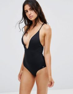 Plunge Swimsuit with Strap Back Detail - Black