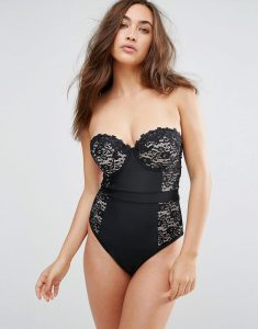 Premium Lace Cupped Swimsuit DD-G - Black